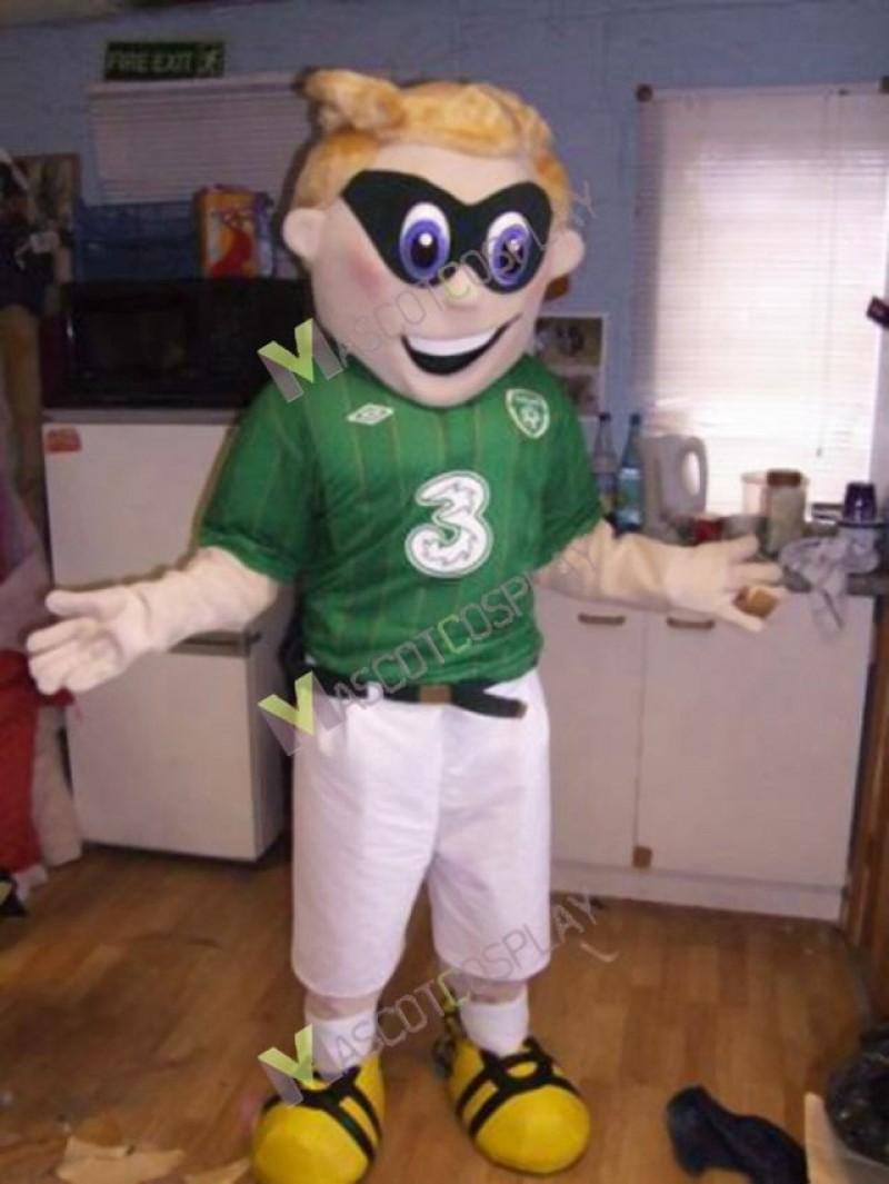 High Quality Adult Superhero in Green Shirt Mascot Costume