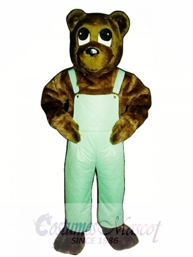Cute Cutesy Bear with Bib Overalls Mascot Costume