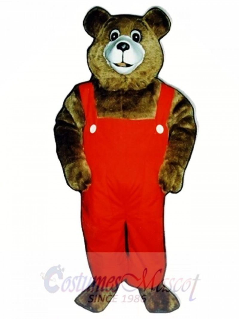 New Tommy Teddy Bear with Overalls Mascot Costume