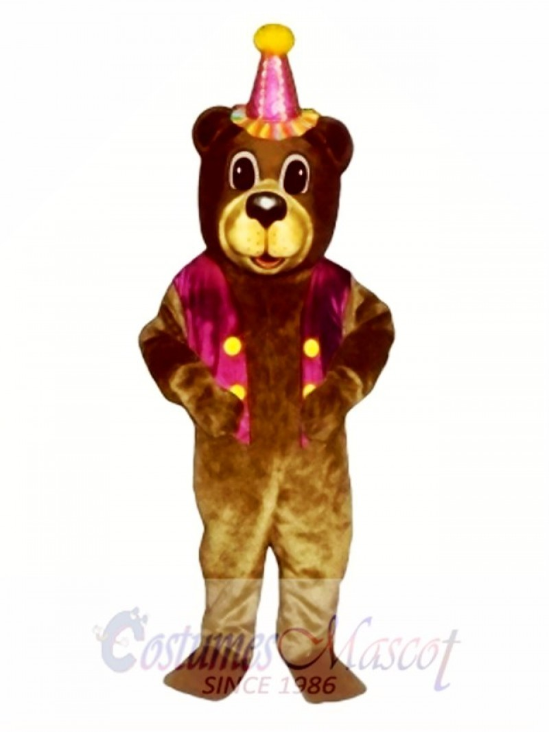 New Birthday Bear with Vest & Hat Mascot Costume