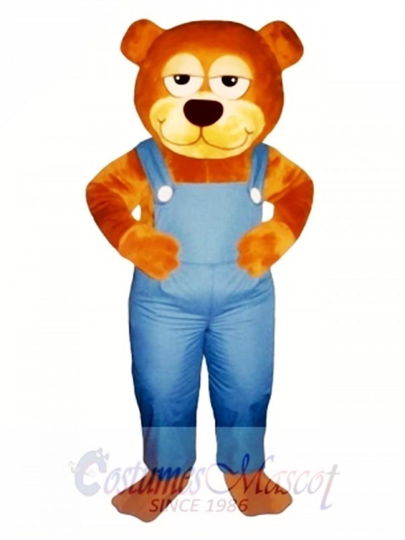 Cute Gardener Bear with Overalls Mascot Costume