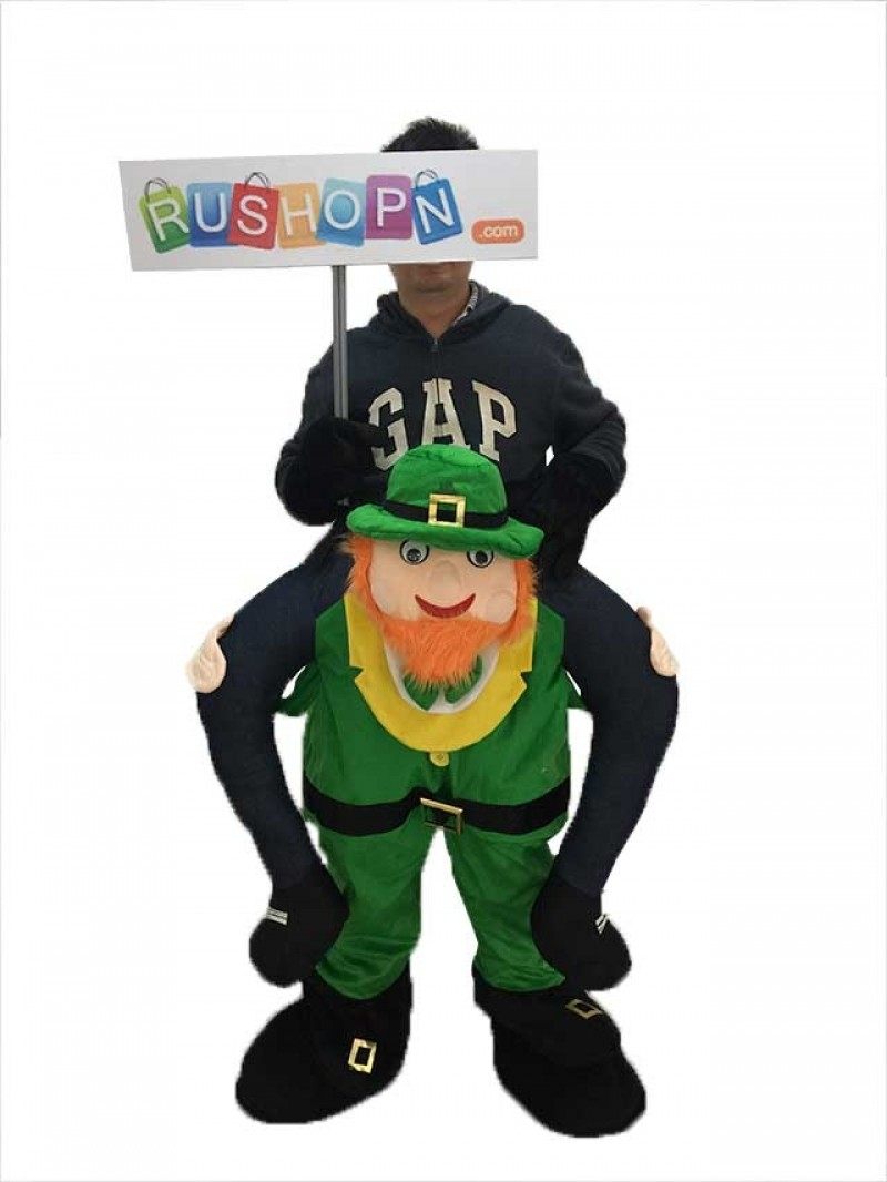 St Patricks Day Piggy Back Costume Irish Carry Me Leprechaun Mascot Costume