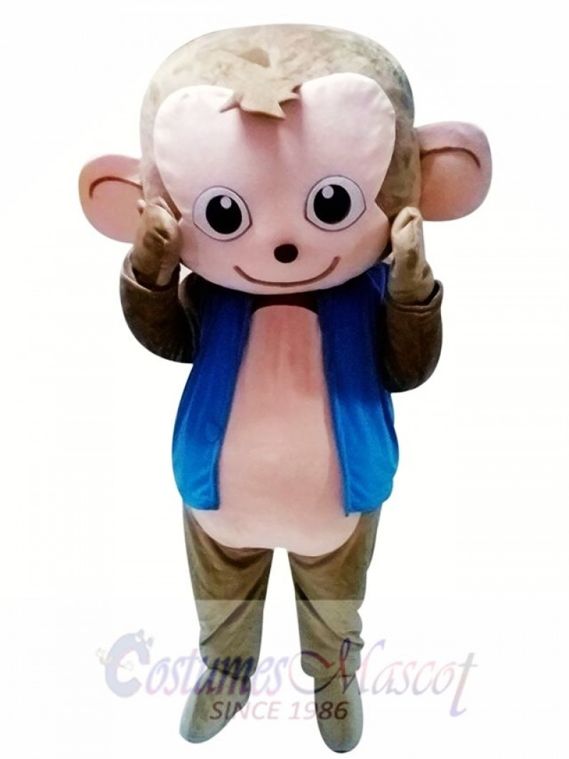 Cute Monkey Mascot Costume in Blue Jacket