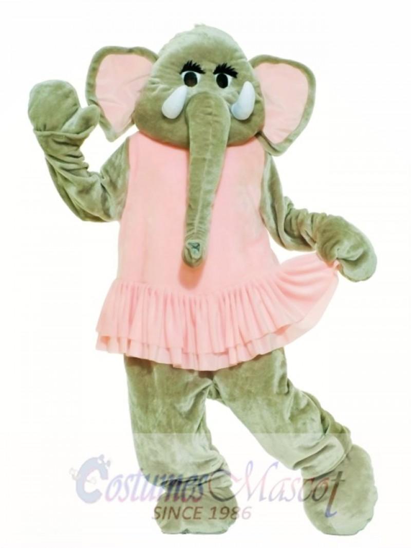 Pink Dress Elephant Mascot Costume