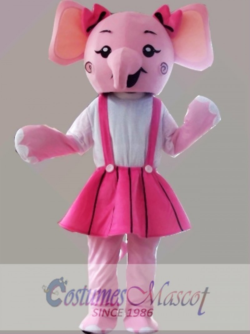 Pink Elephant Mascot Costume Cartoon