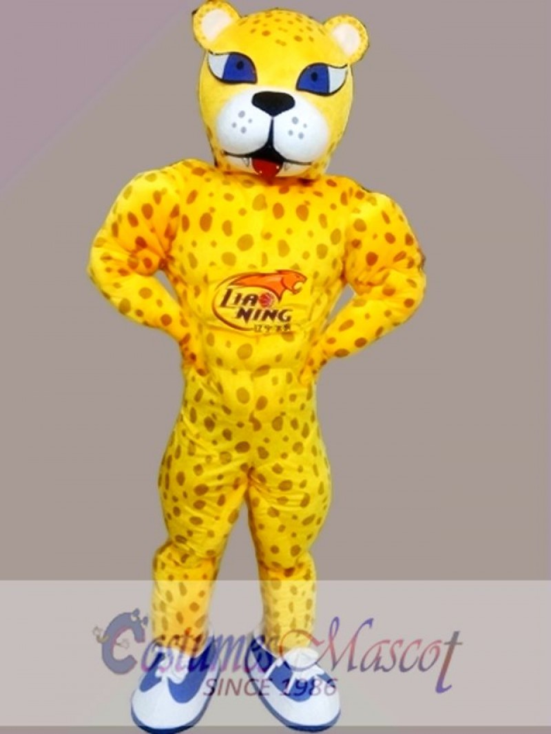 Yellow Panther Leopard Mascot Costume