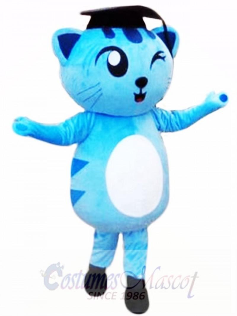 Cute Blue Doctor Cat Mascot Costume