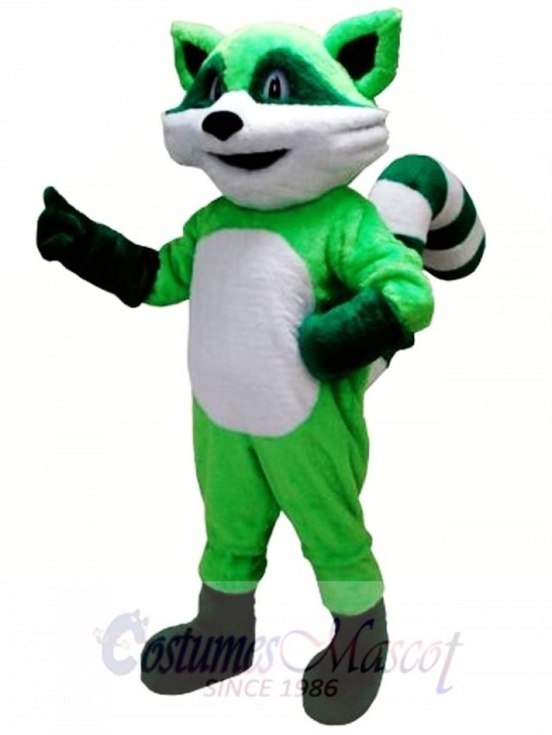 Green Ricky Racoon Mascot Costume