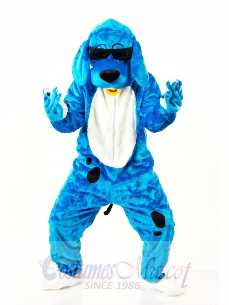 Blue Music Dog Mascot Costume