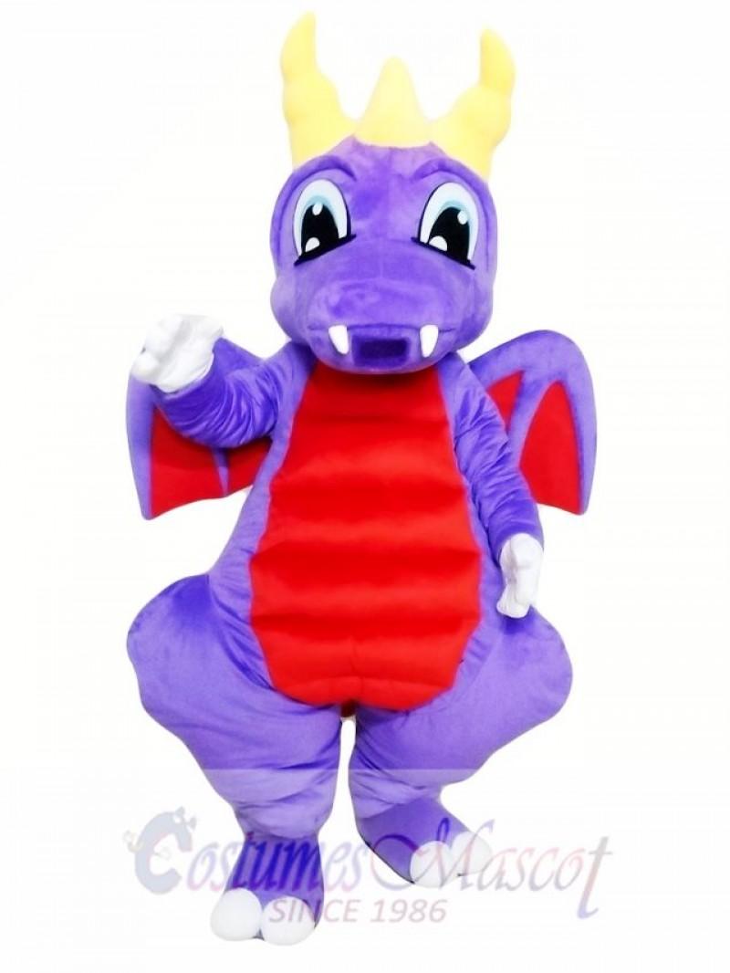 Purple Dragon Mascot Costume for Adults