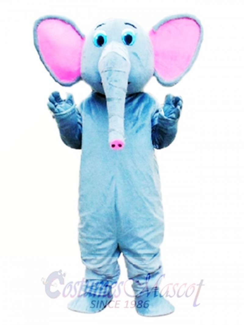 Pink Ear Grey Elephant Mascot Costume