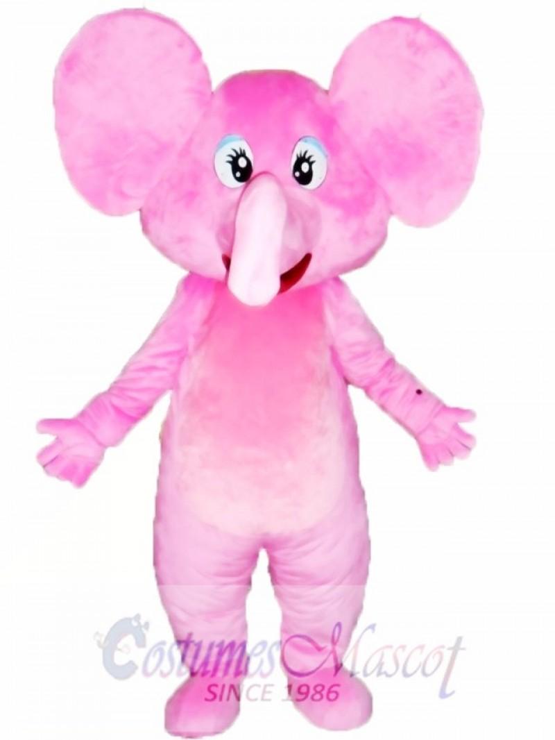 Happy Pink Elephant Mascot Costume