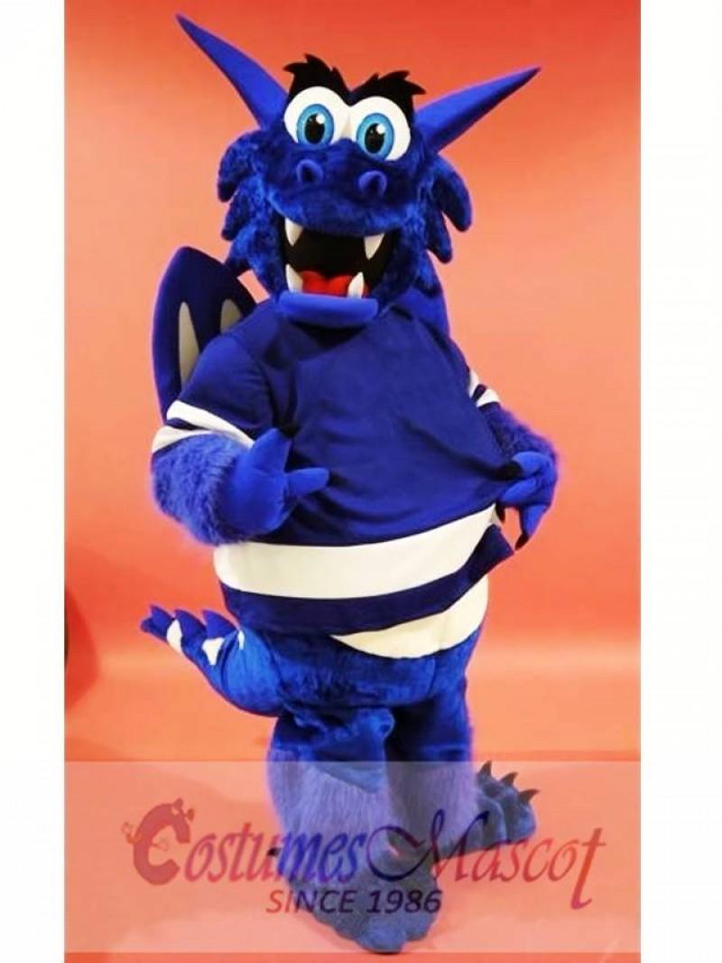 Blue Happy Dragon Mascot Costume
