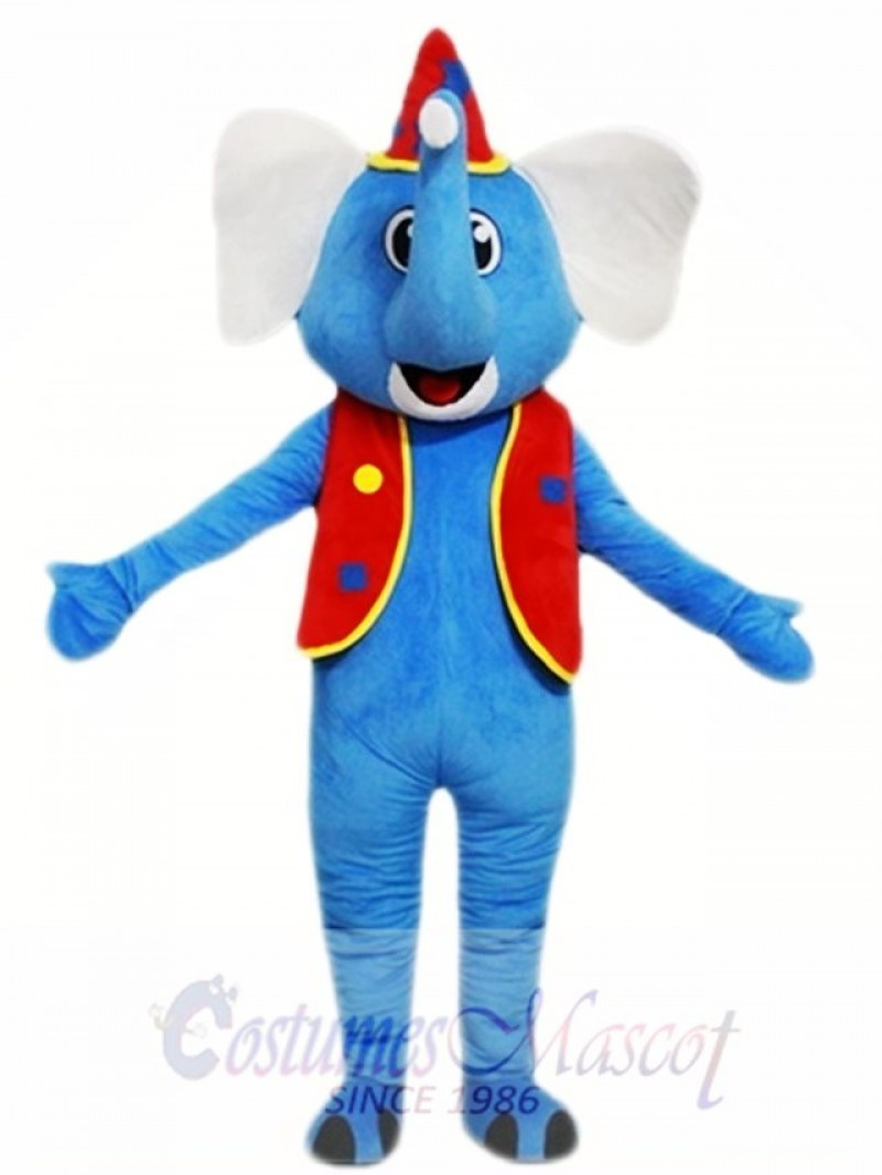 Blue Elephant Red Hat Mascot Costume