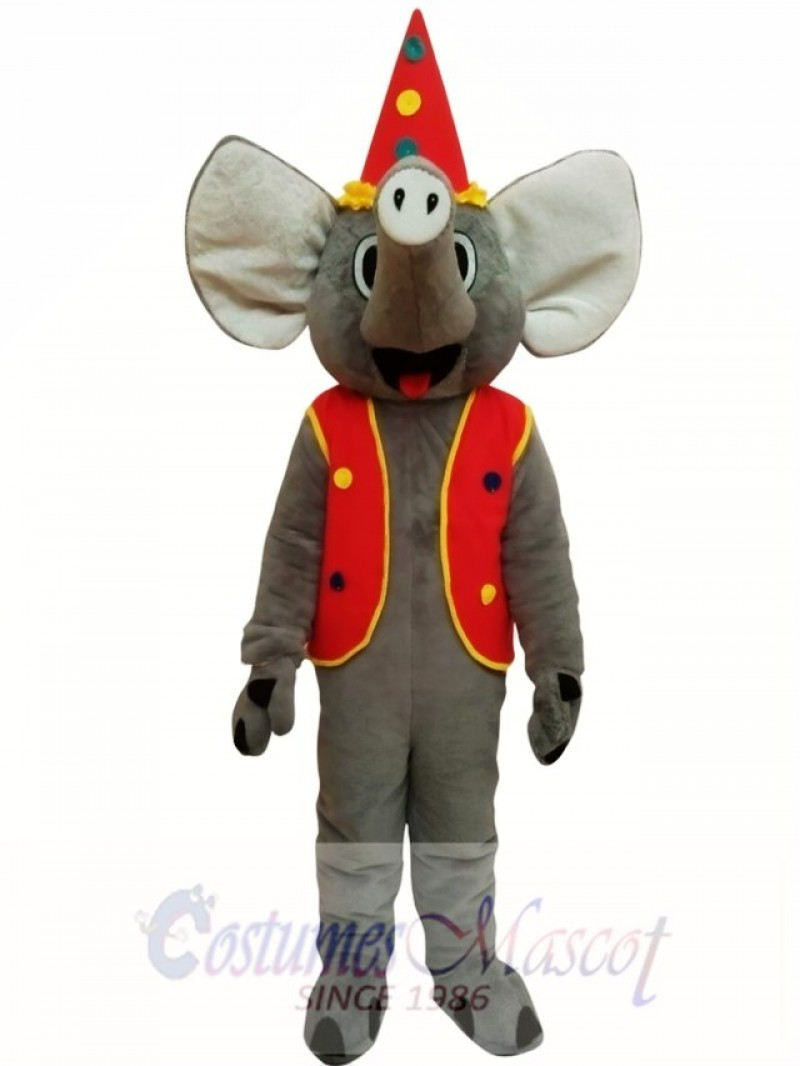 Elephant With Coat Christmas Mascot Costume