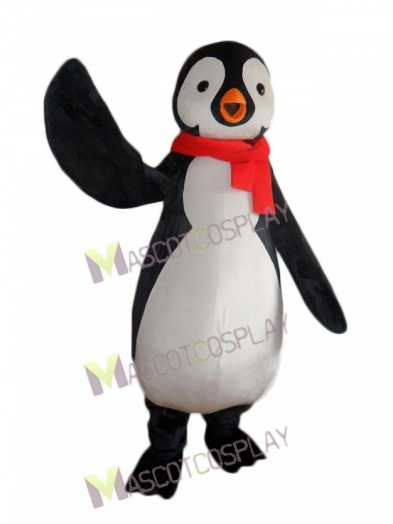 New Penguin with Red Scarf Mascot Costume