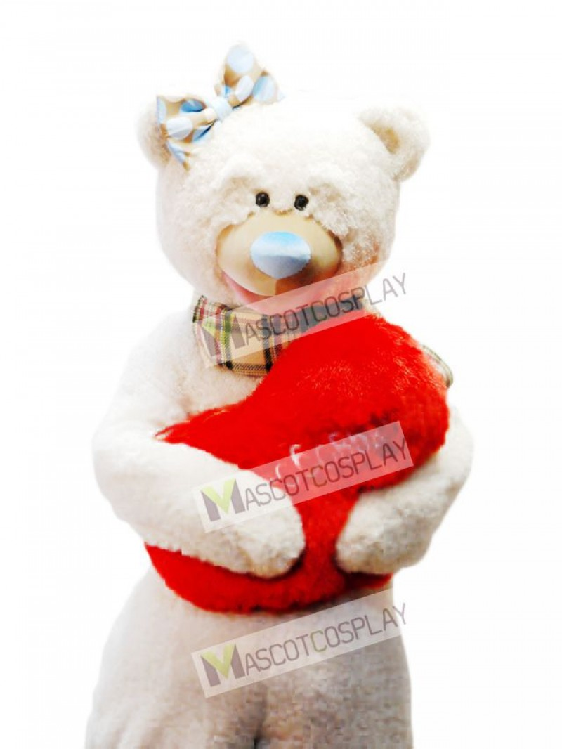 Bear With Bow & Scarf Mascot Costume Red Heart NOT INCLUDED