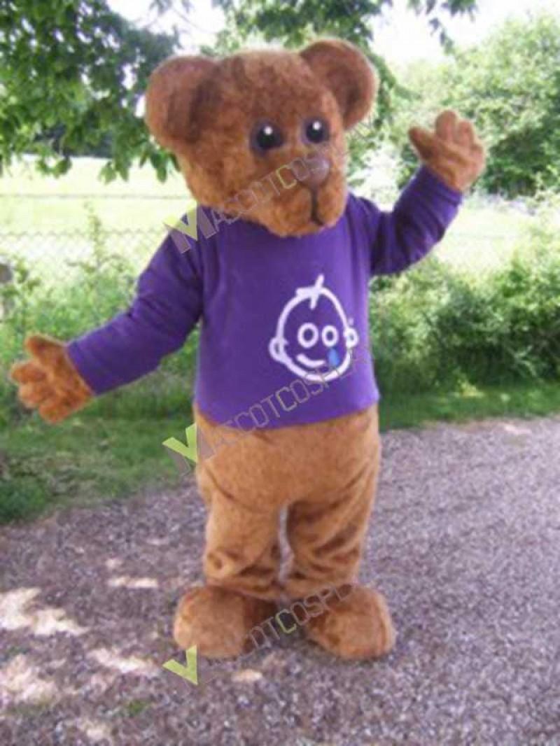 High Quality Adult Brown Bernard Bear Mascot Costume in Purple Shirt