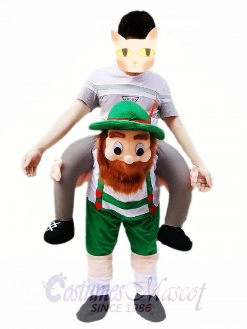 Piggy Back Carry Me Green Bavarian Beer Guy Ride Mascot Costume Fancy Dress