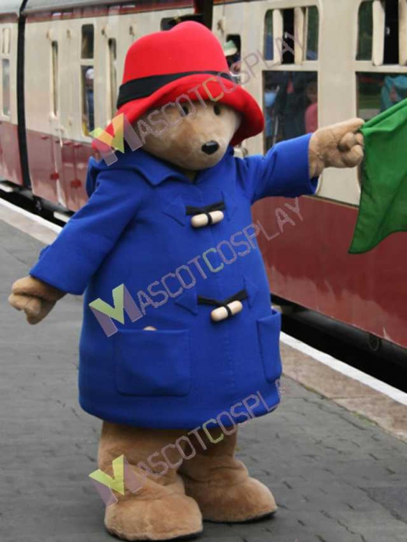 High Quality Adult Cartoon Bear in Blue Coat and Red Hat Mascot Costume