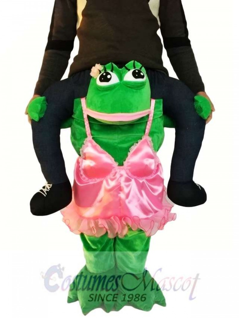 Piggyback Frog in Pink Dress Carry Me Ride on Frog Mascot Costume
