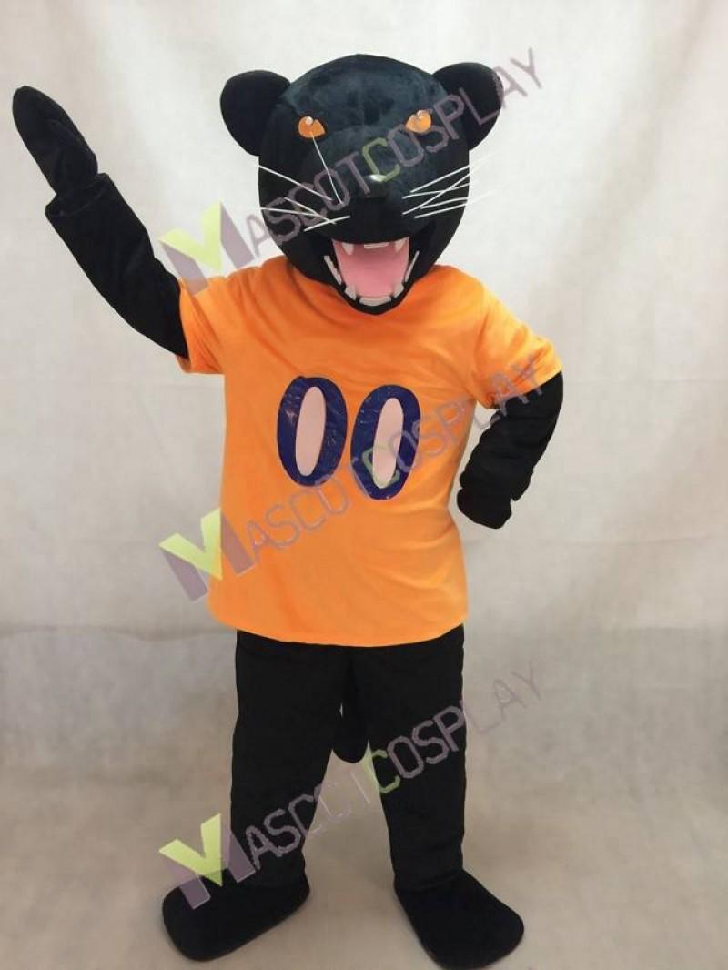 Panther Mascot Costume in Orange Vest