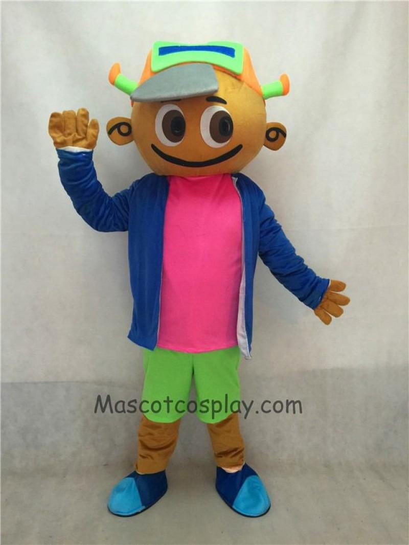 Cute Cap Boy in Blue Coat and Green Pants Mascot Costume
