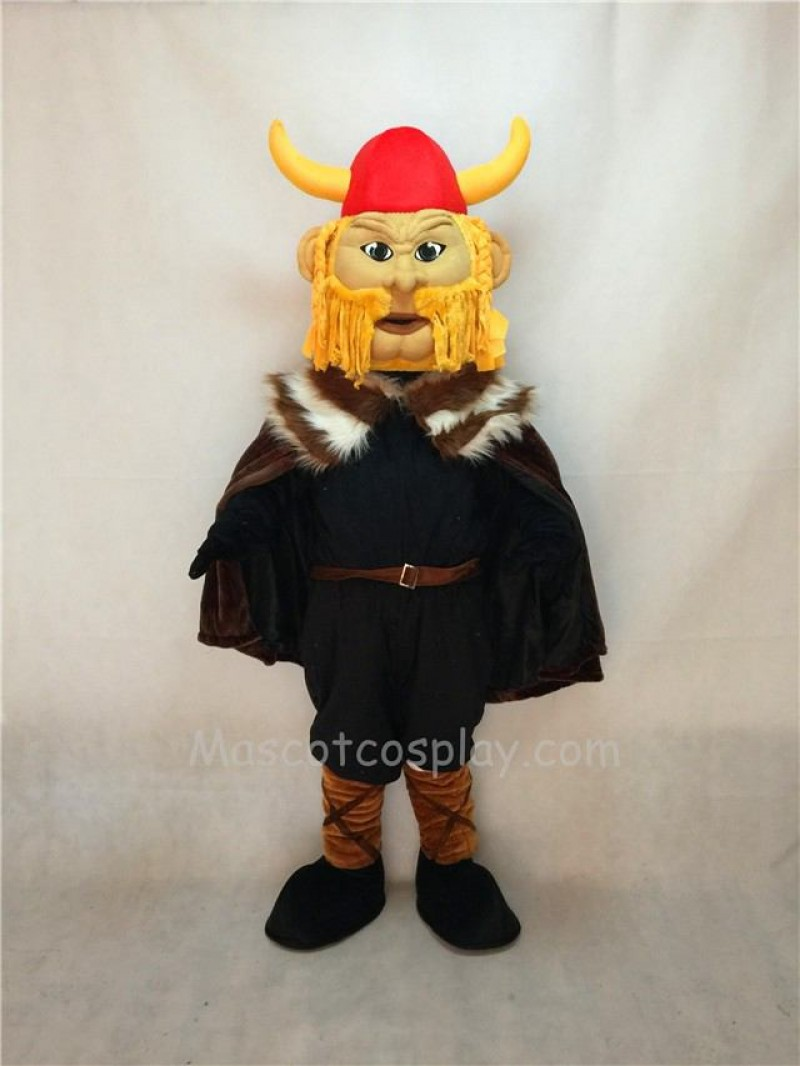 Cute Thor the Giant Viking Mascot Costume with Red Hemlet