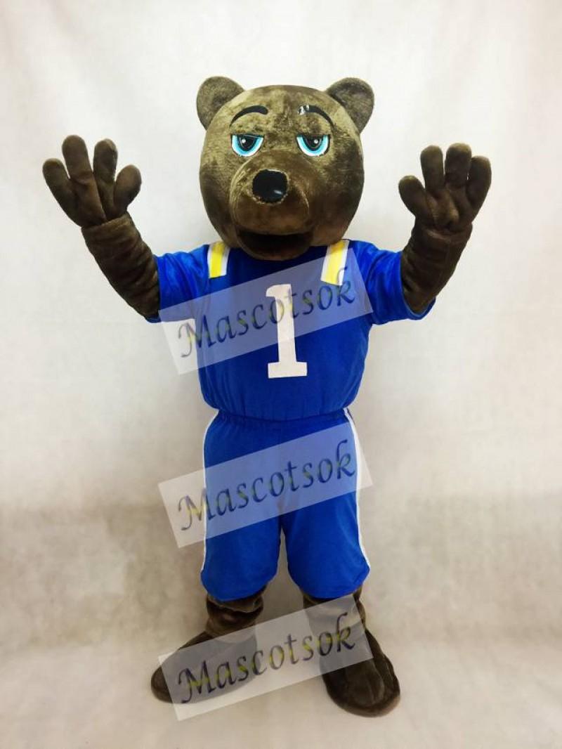 Dark Brown Bear Mascot Costume with Vest