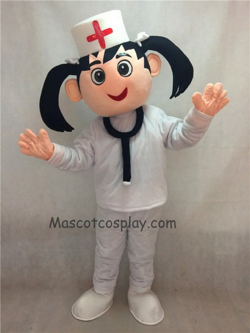 Hot Sale Adorable Realistic New Nurse in White Hat and Suit Mascot Costume