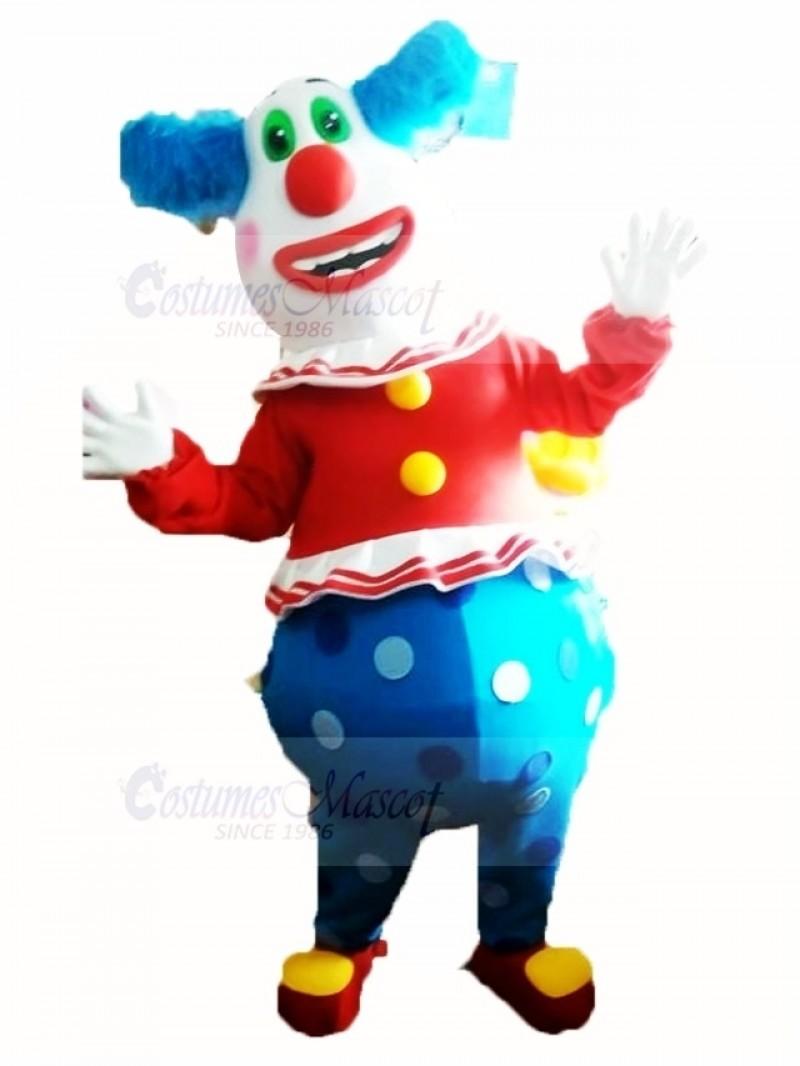 Clown with Green Eyes Mascot Costume Cartoon