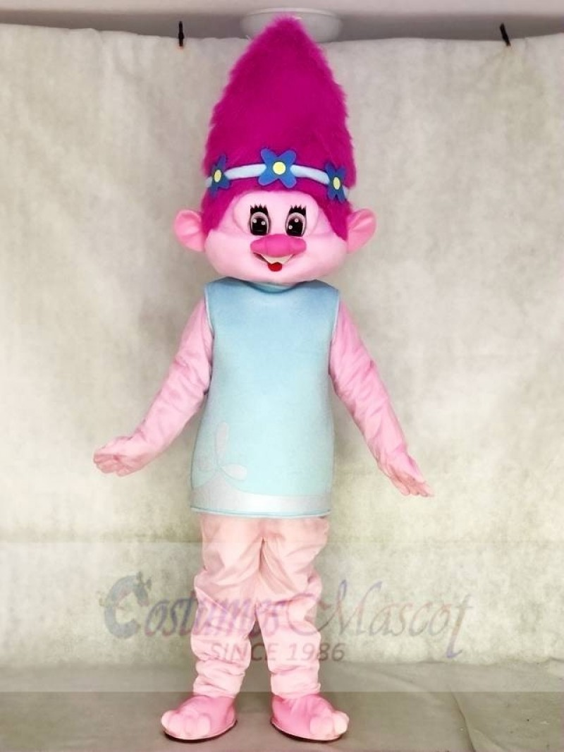 Pink Shy Trolls Girl Poppy Mascot Costumes Cartoon