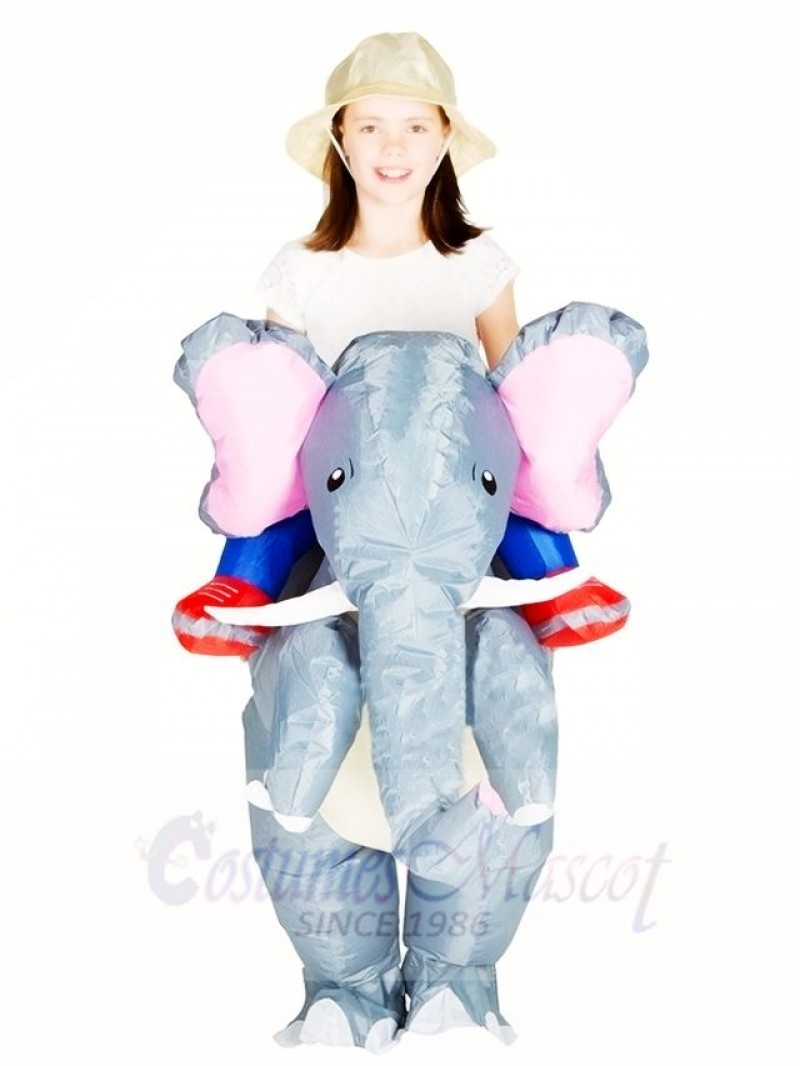 Grey Elephant Carry me Ride On Inflatable Halloween Christmas Costumes for Kids