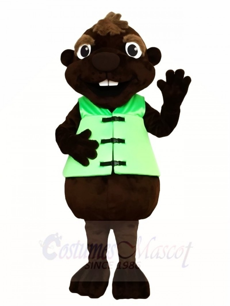 Brown Beaver with Green Vest Mascot Costumes Animal