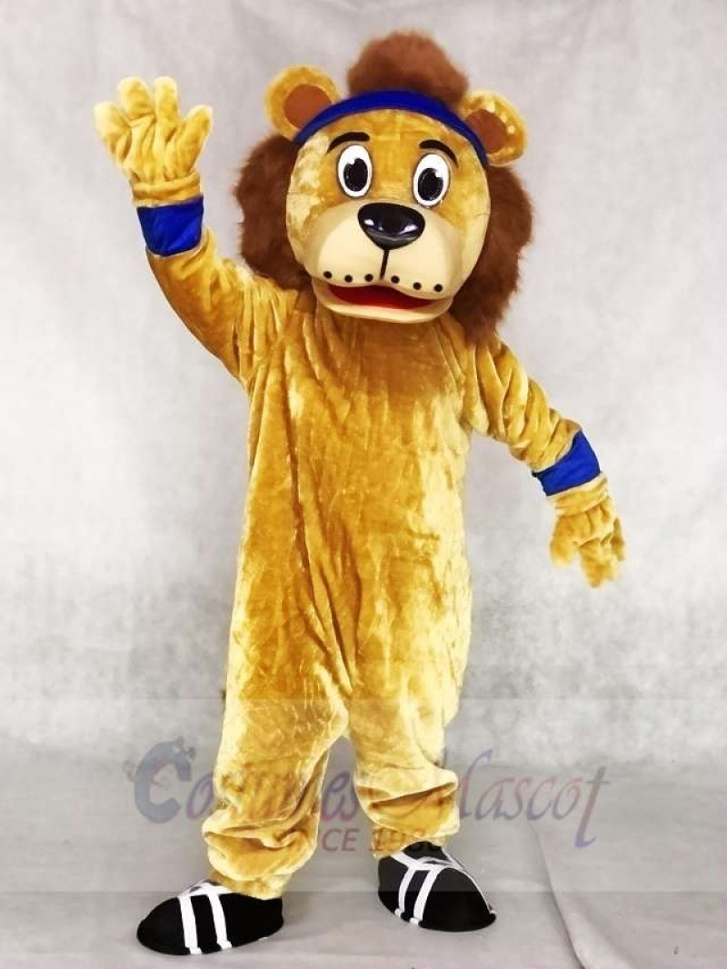 Lenny The Lion with Blue Head Band Mascot Costumes Animal