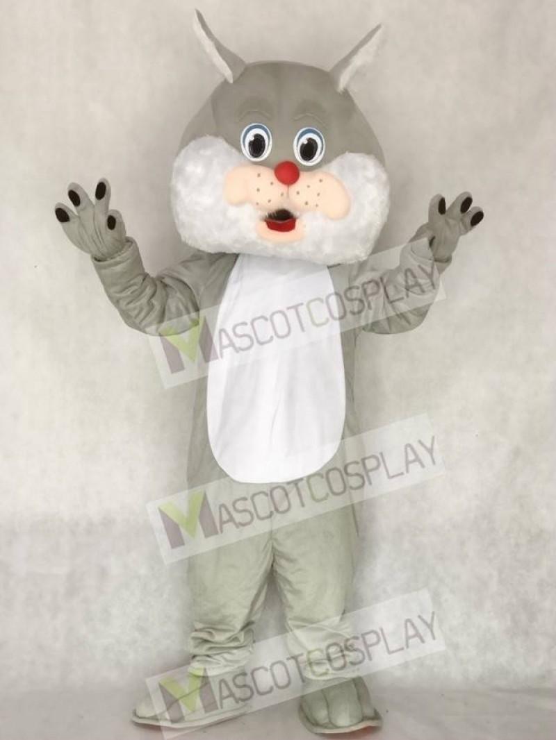 Cute Grey Wirey Wildcat Mascot Costume Animal