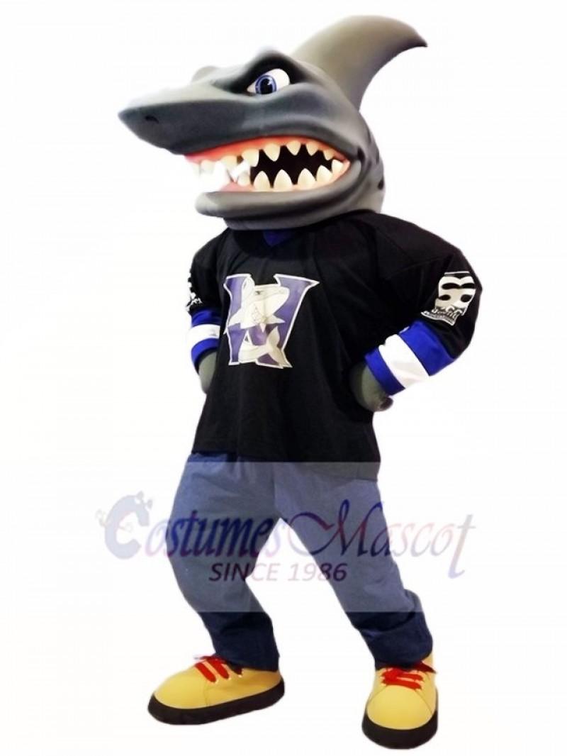Black Shirt Shark Mascot Costume Ocean