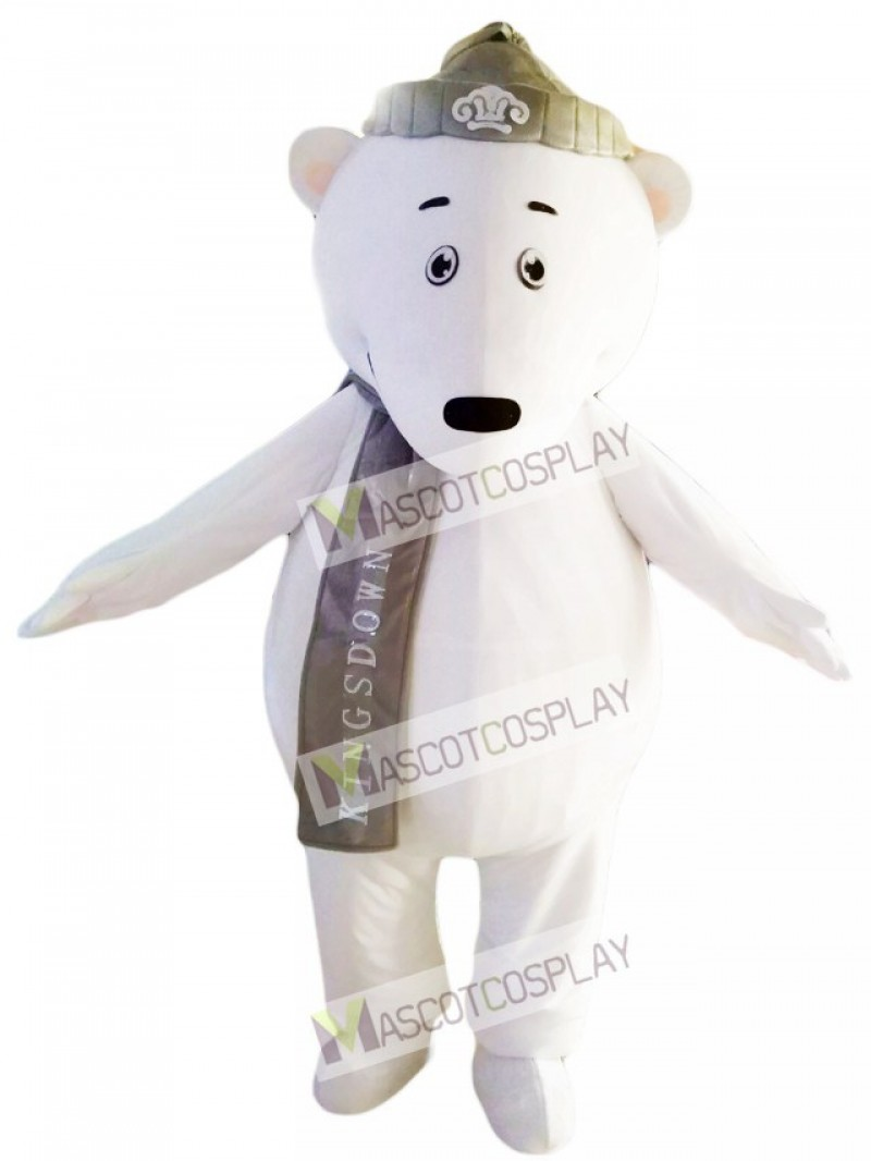 Polar Bears with Grey Hat and Scarf Mascot Costume