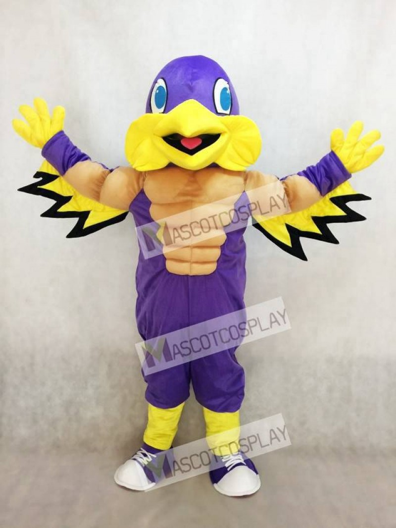 Mighty Golden Eagle Purple and Yellow Mascot Costume
