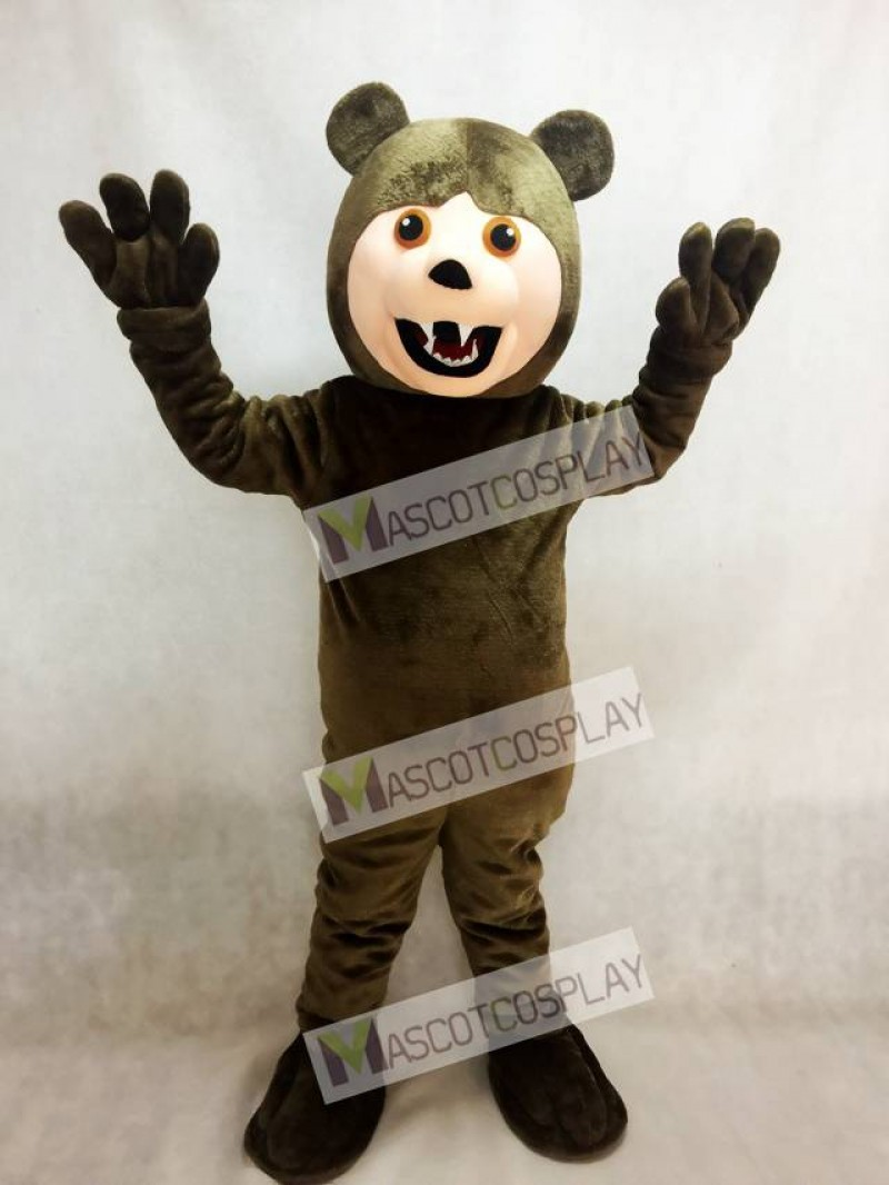 Adult Dark Brown Grizzly Bear Mascot Costume Animal