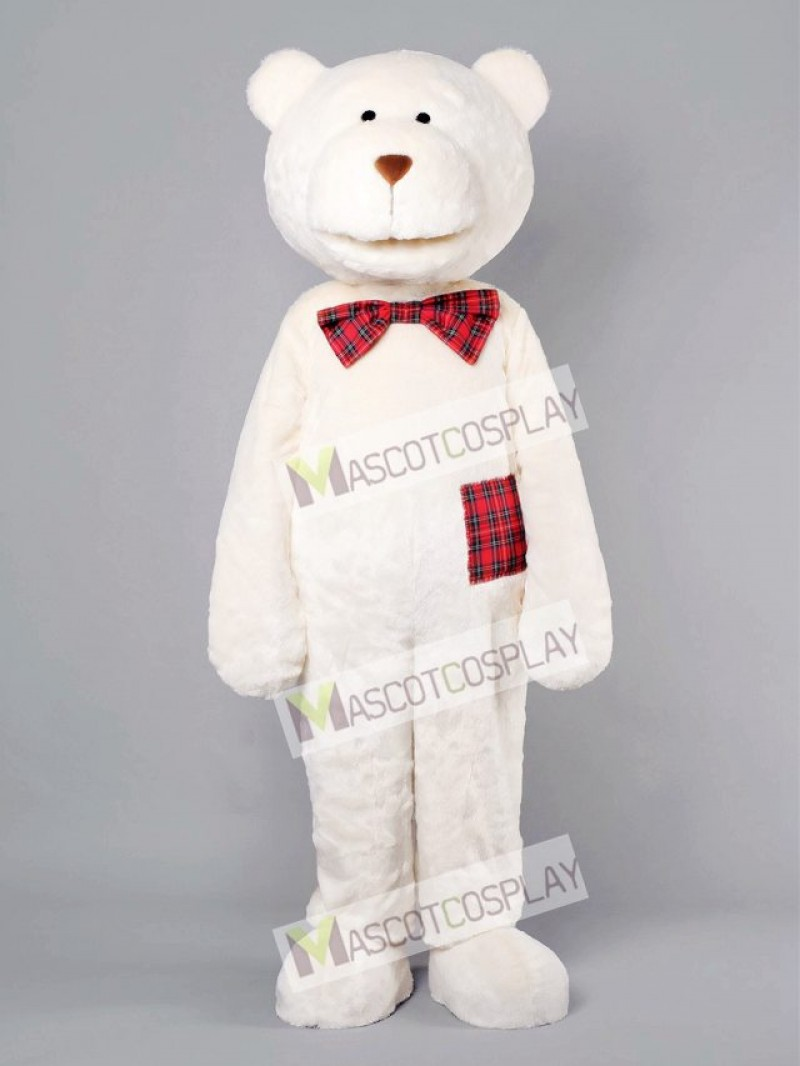 Romantic Bear With Plaid Bow Mascot Costume