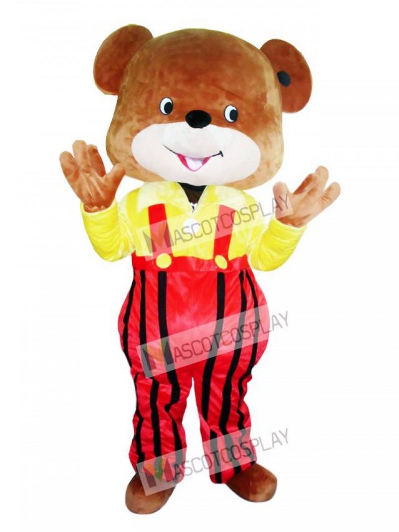 Yellow Coat Overalls Bear Mascot Costume