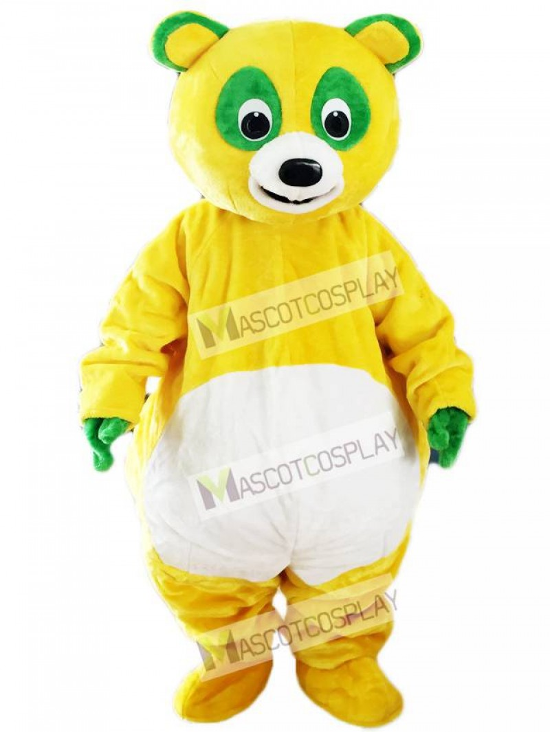Yellow Bear with Green Eyes Mascot Costume