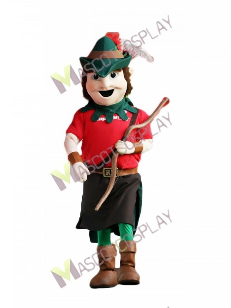 High Quality Adult Robin Hood Mascot Costume in Green Hat