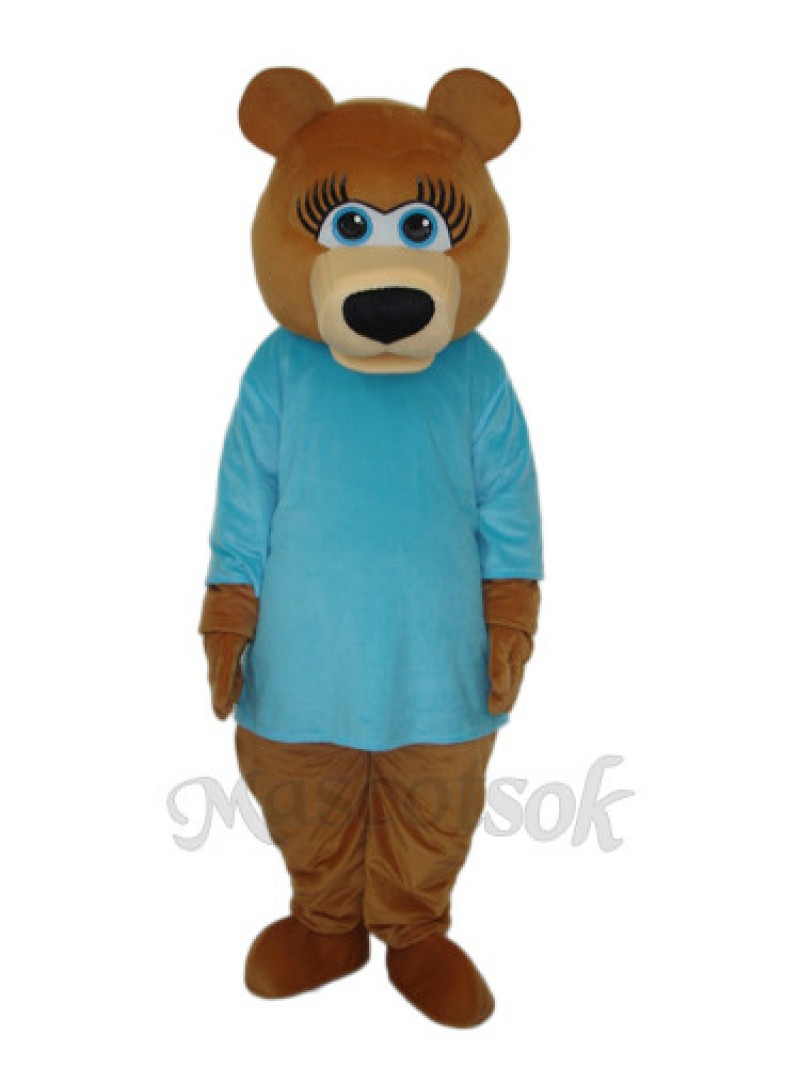 Ms.Bear in Blue T-shirt Mascot Adult Costume