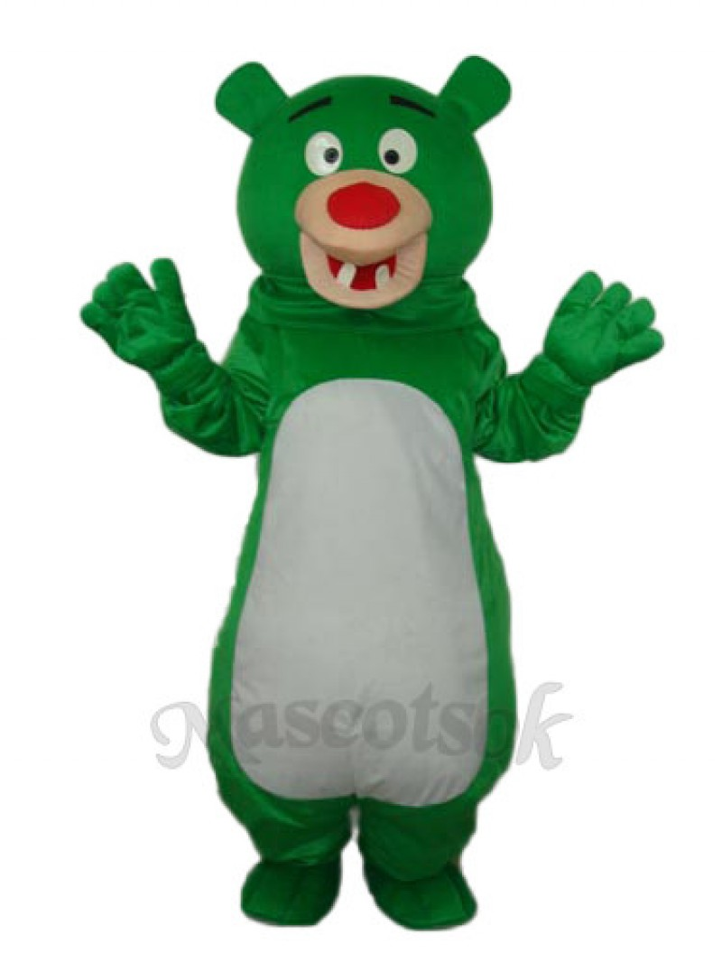 Short-haired Green Bear Mascot Adult Costume