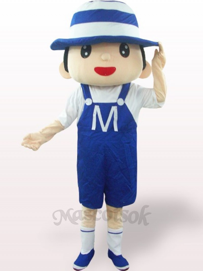 Blue Bonnet Boy Plush Adult Mascot Costume