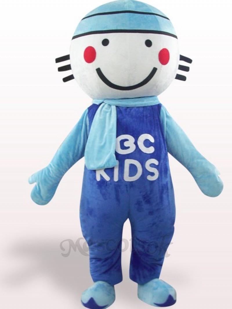 Blue Round Head Doll Plush Adult Mascot Costume