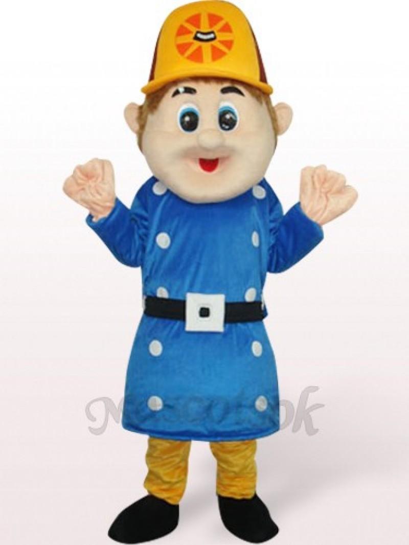 Blue Worker Sam Plush Adult Mascot Costume