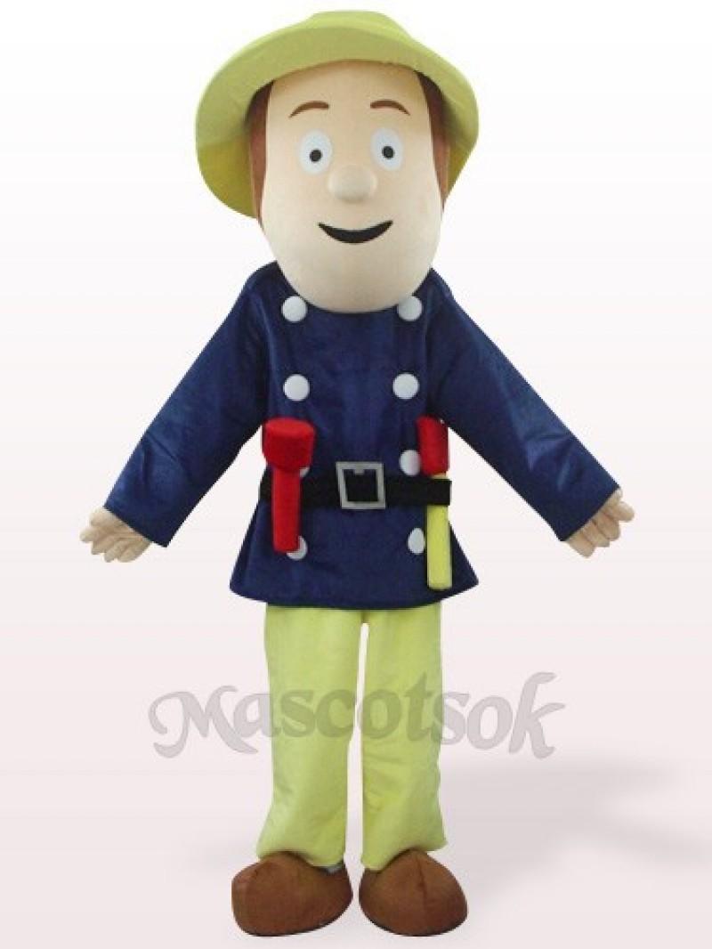 Fireman In Blue Clothes Plush Mascot Costume